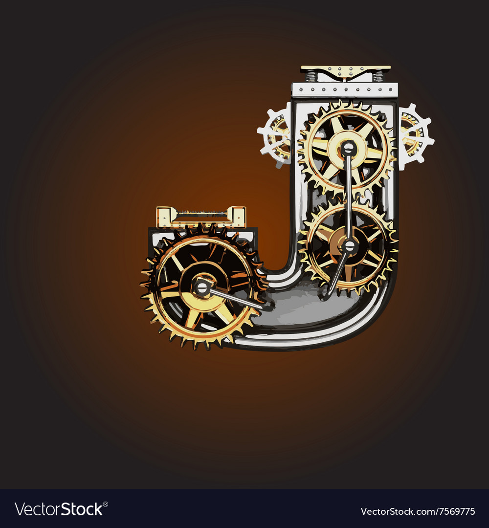 J letter with gears vector