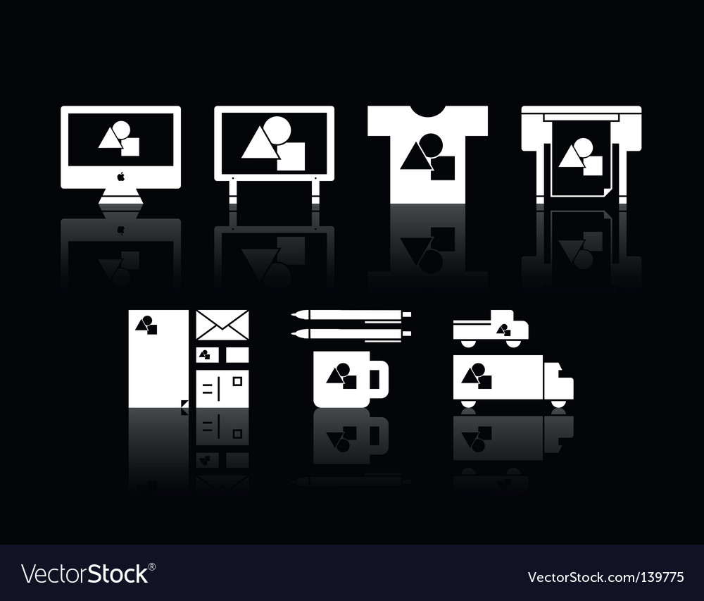 Print shop icons vector