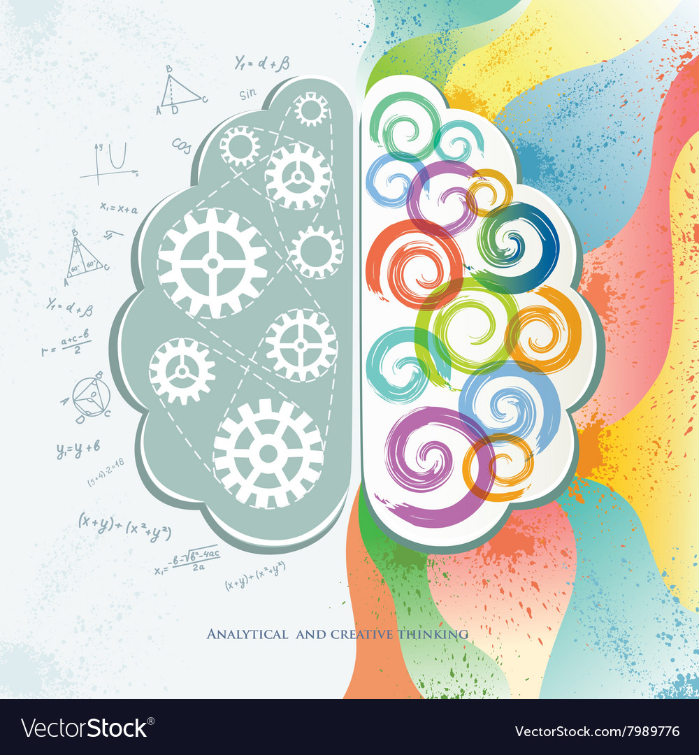 Analytical and creative thinking vector
