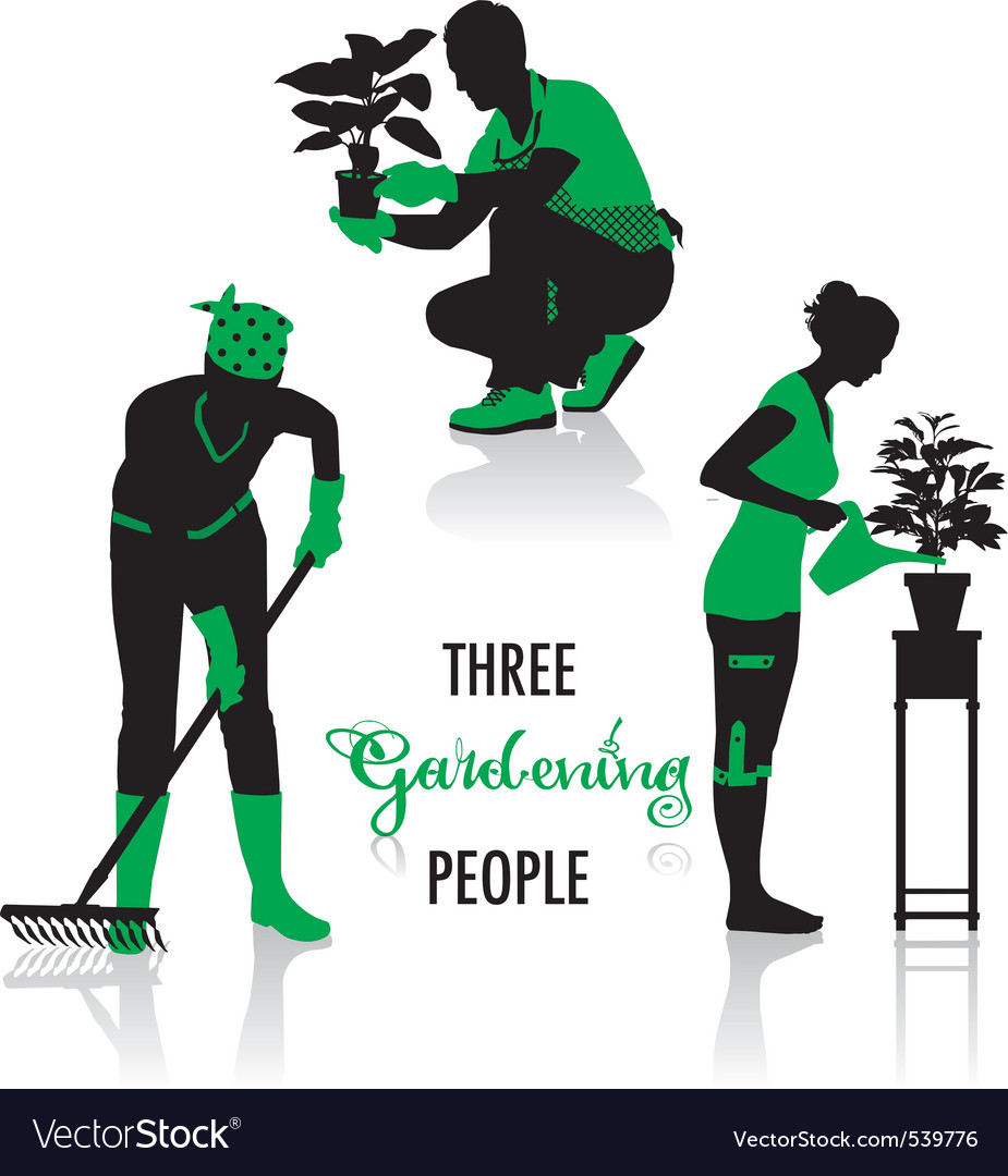 Gardening people silhouettes vector