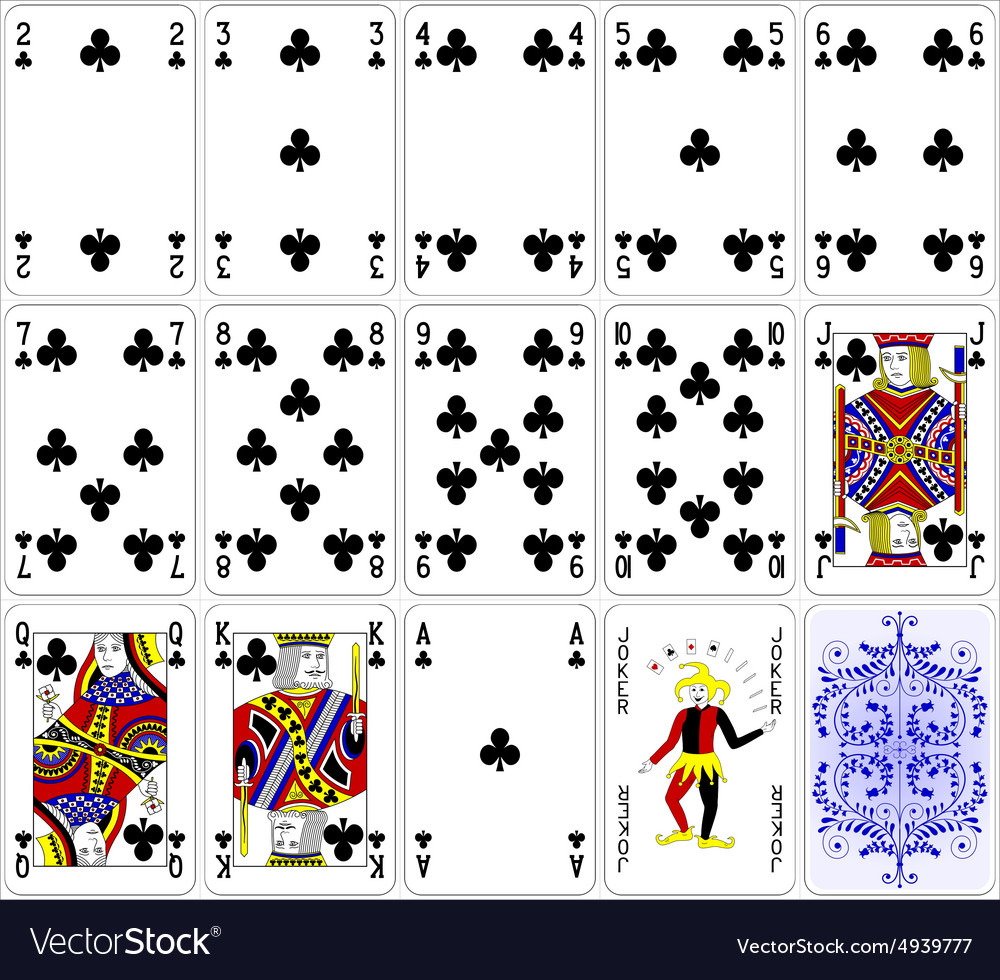 Poker cards club set four color classic design vector