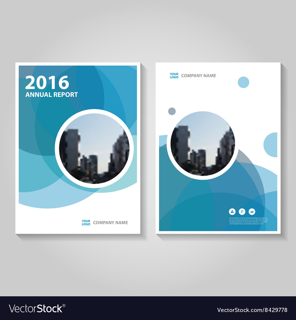 Circle blue annual report leaflet brochure vector