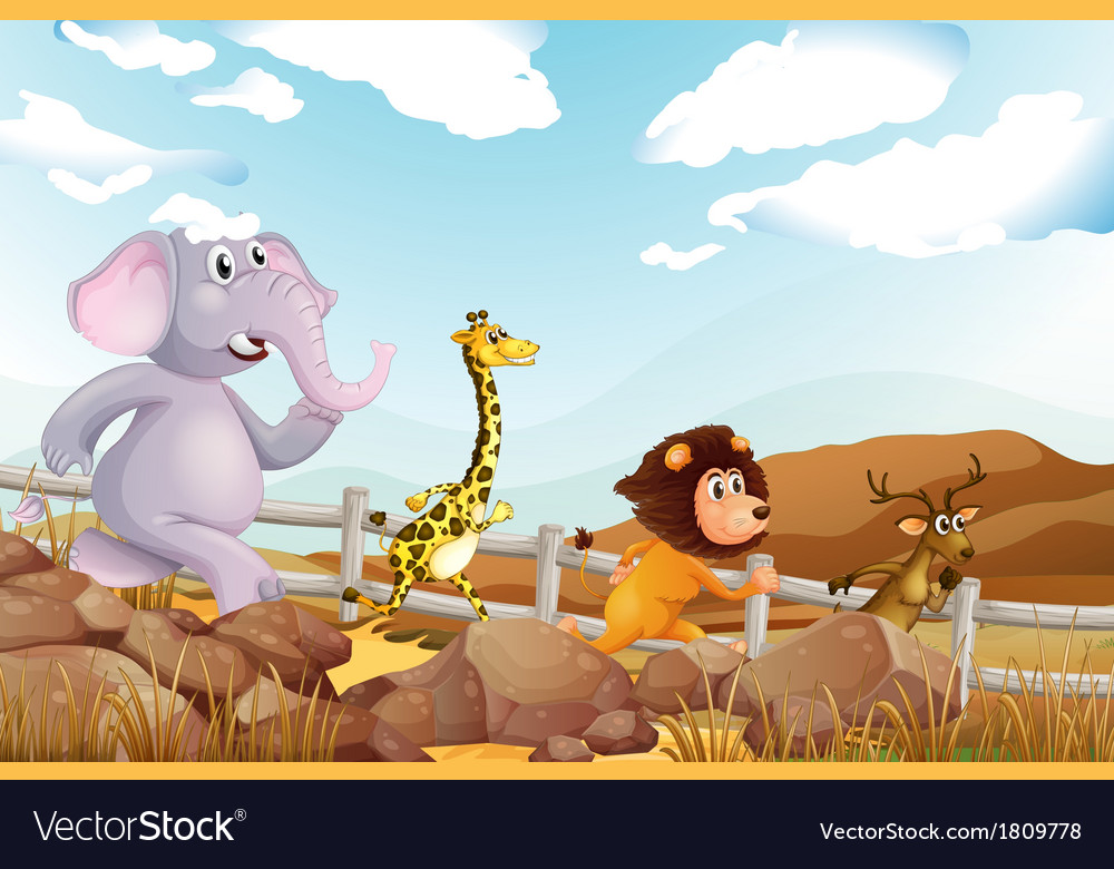 Four animals running at the farm vector