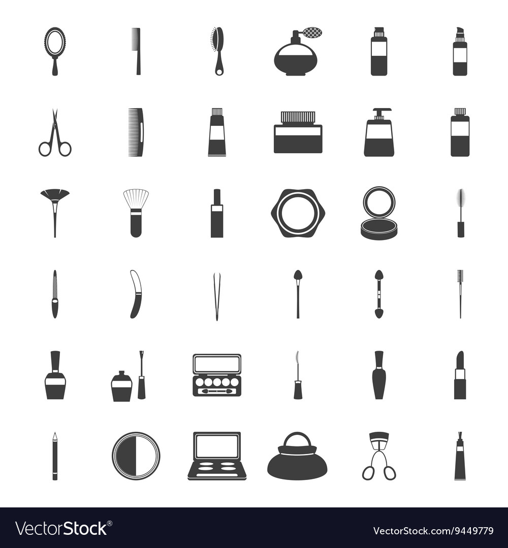 Set of beauty and makeup icons vector
