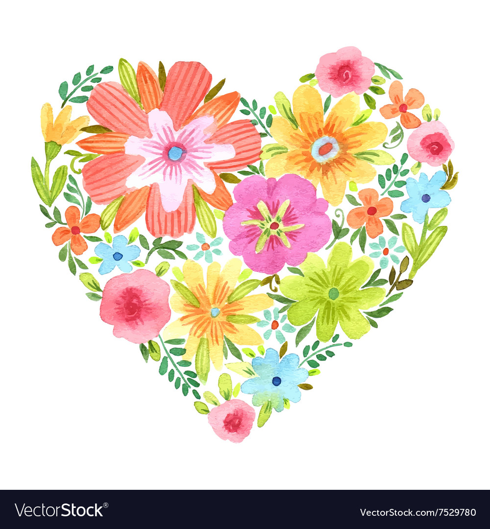 Watercolor heart of flowers vector