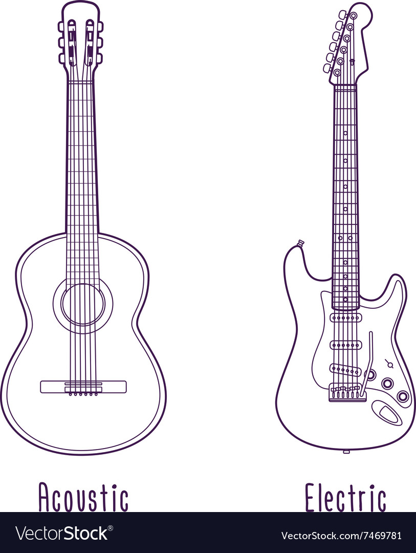 Acoustic and electric guitar outline vector