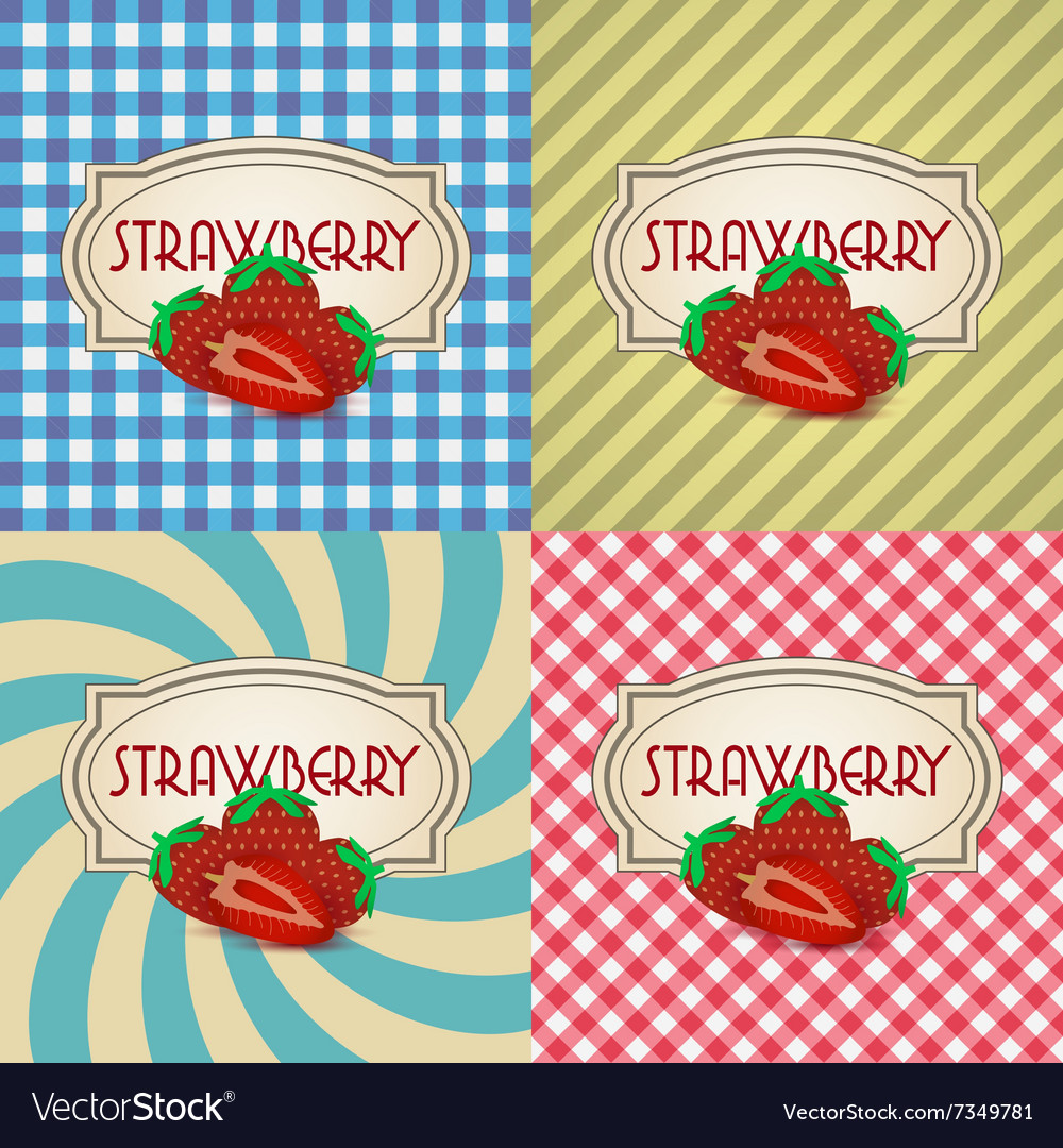Four types of retro textured labels for strawberry vector