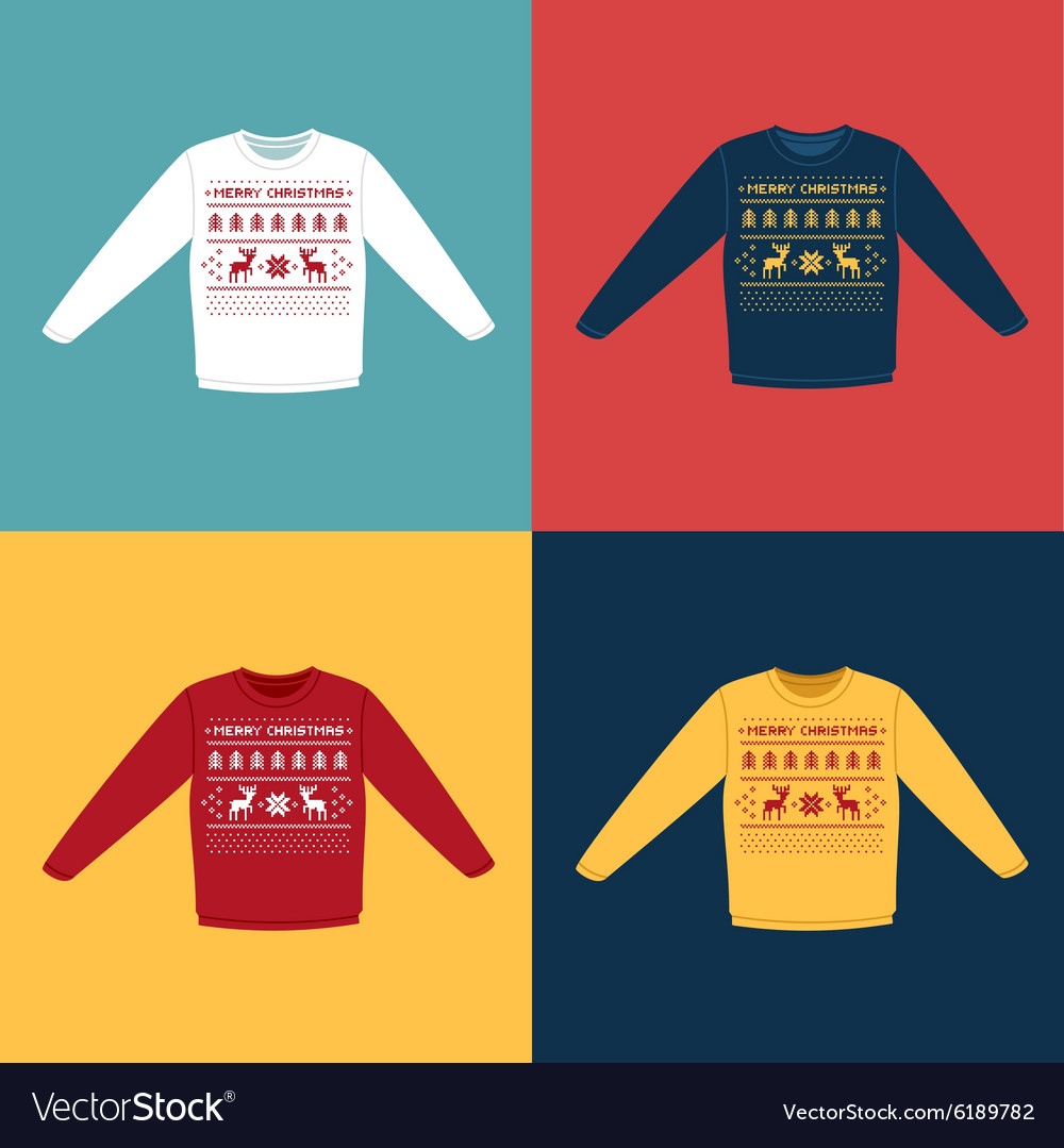 Ugly christmas sweaters or jumpers with pixel vector