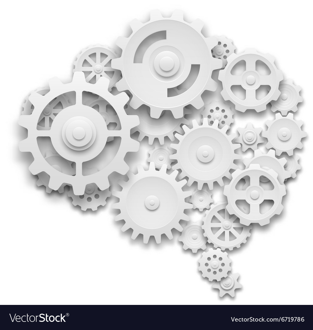 Brain made of gears vector