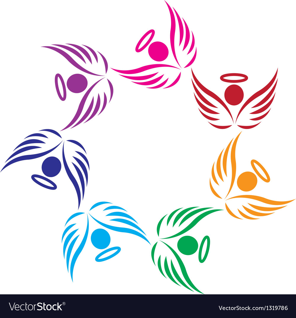 Teamwork angels support logo vector