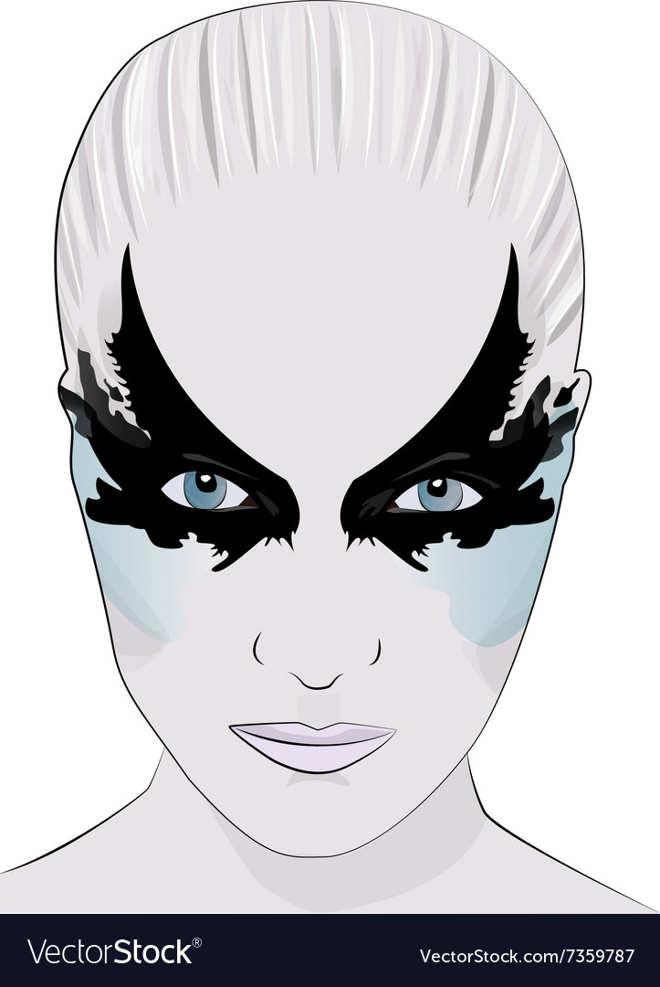 Fashion makeup girl face mask vector