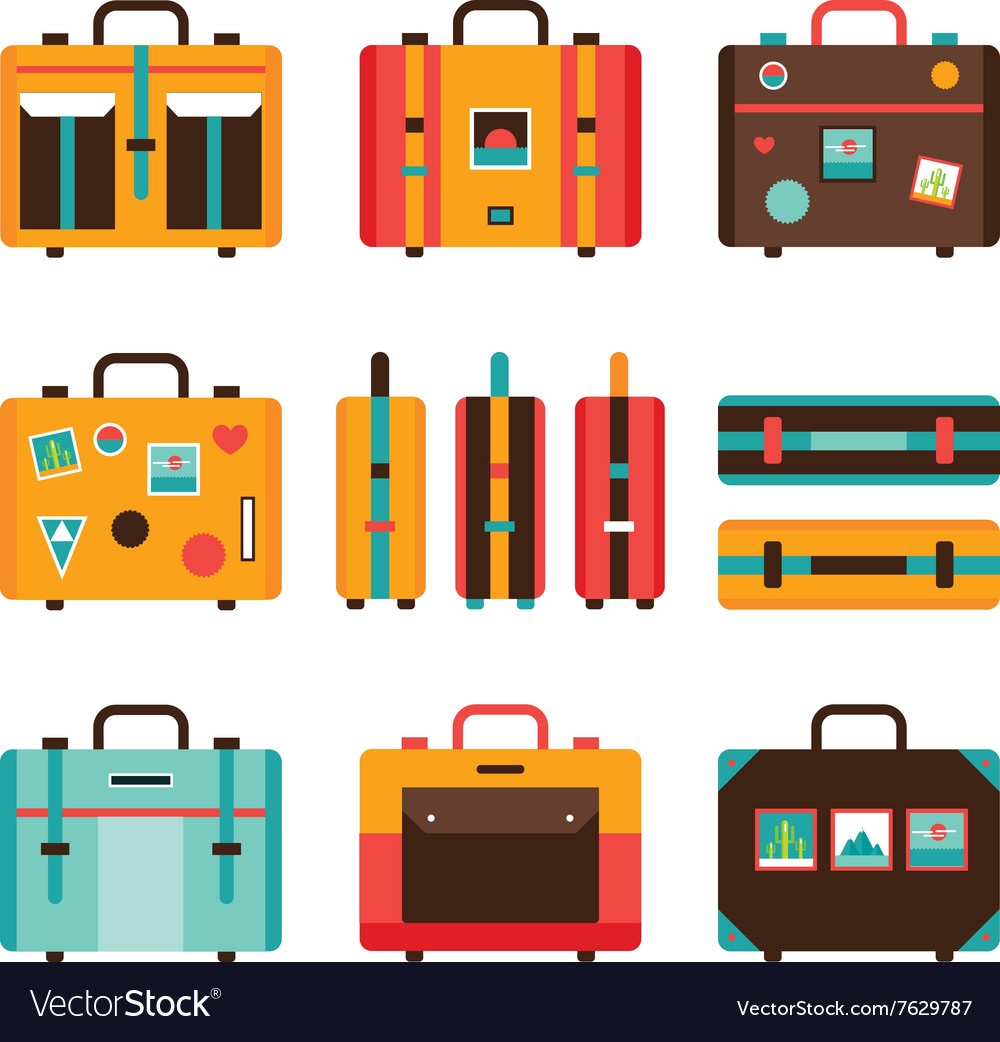Travel bag icon set colorful suitcase collection vector
