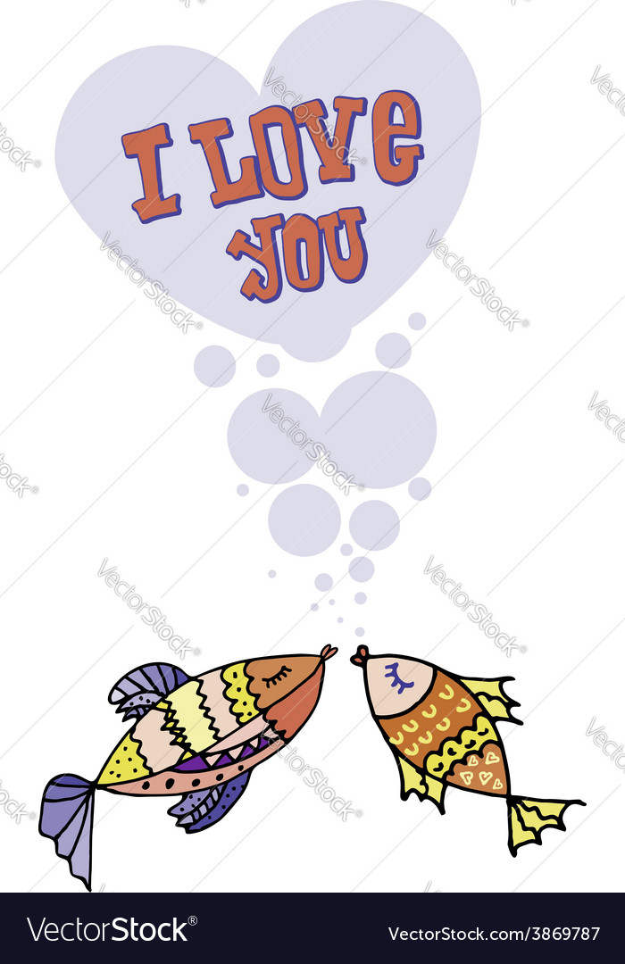 Valentine i love you postcard for 14 february vector