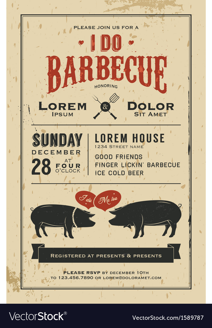 Vintage i do barbecue wedding invitation card vector