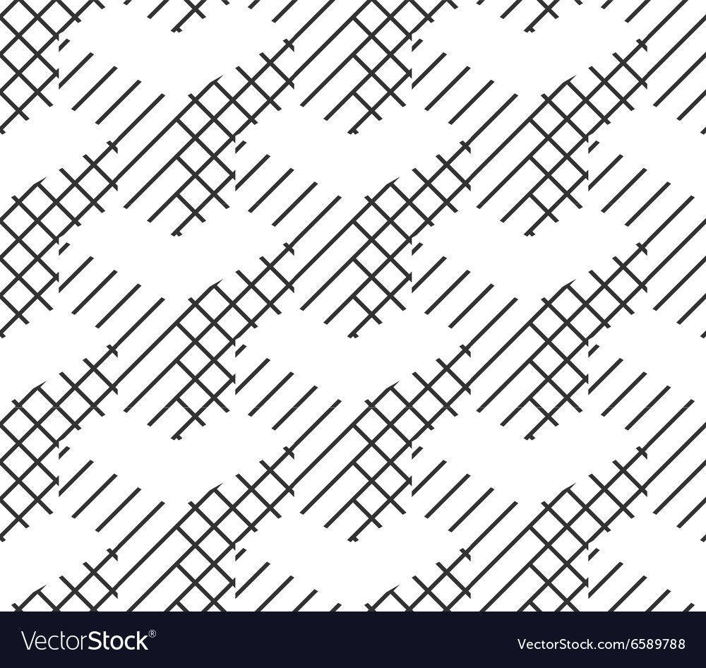 Seamless geometric pattern black and white lines vector