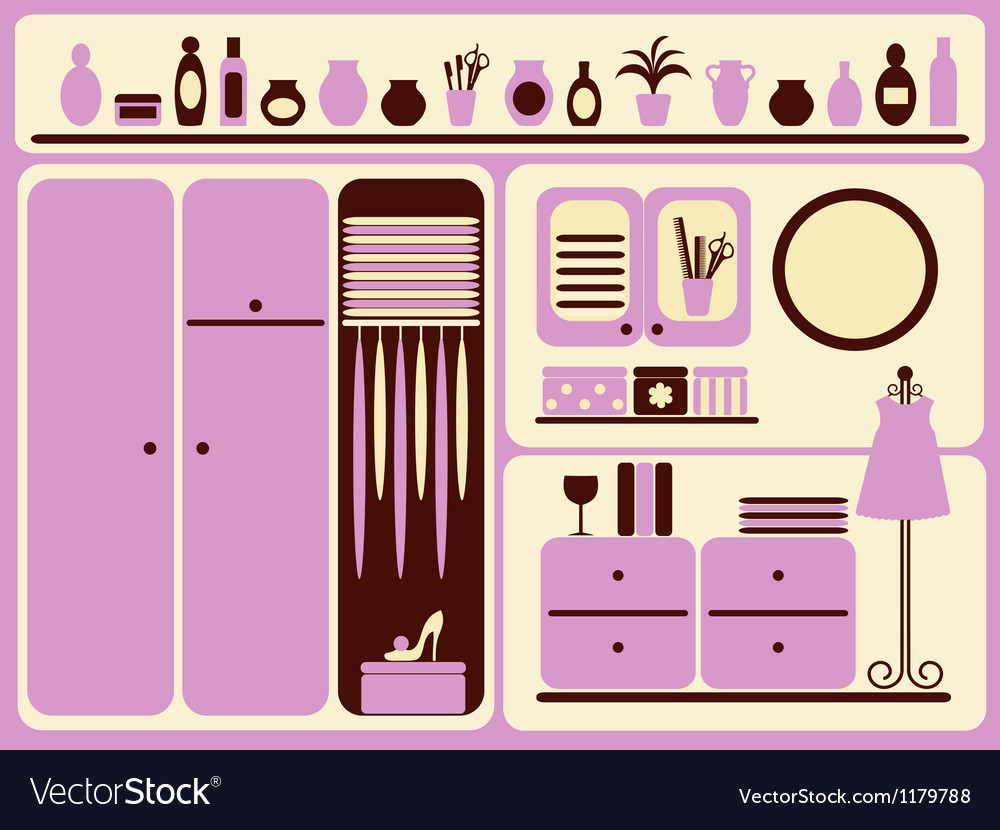 Wardrobe room interior and objects set vector