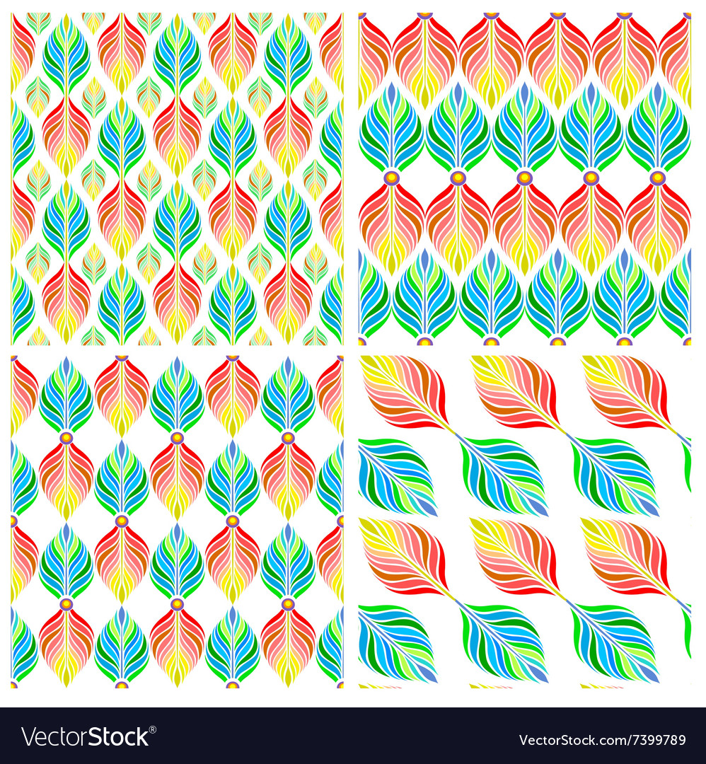 Seamless patterns with colorful leaves vector
