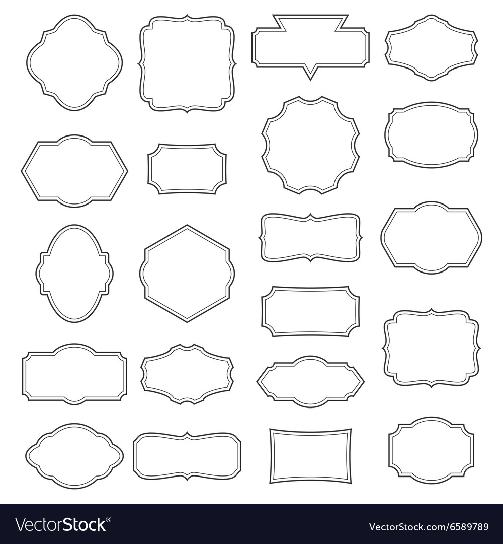 Vintage frame set decorative label collection vector