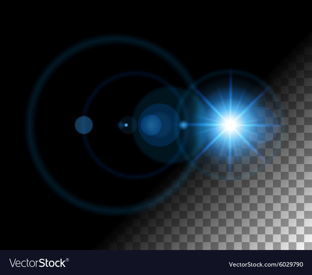 Abstract lens flare lights on transparent vector