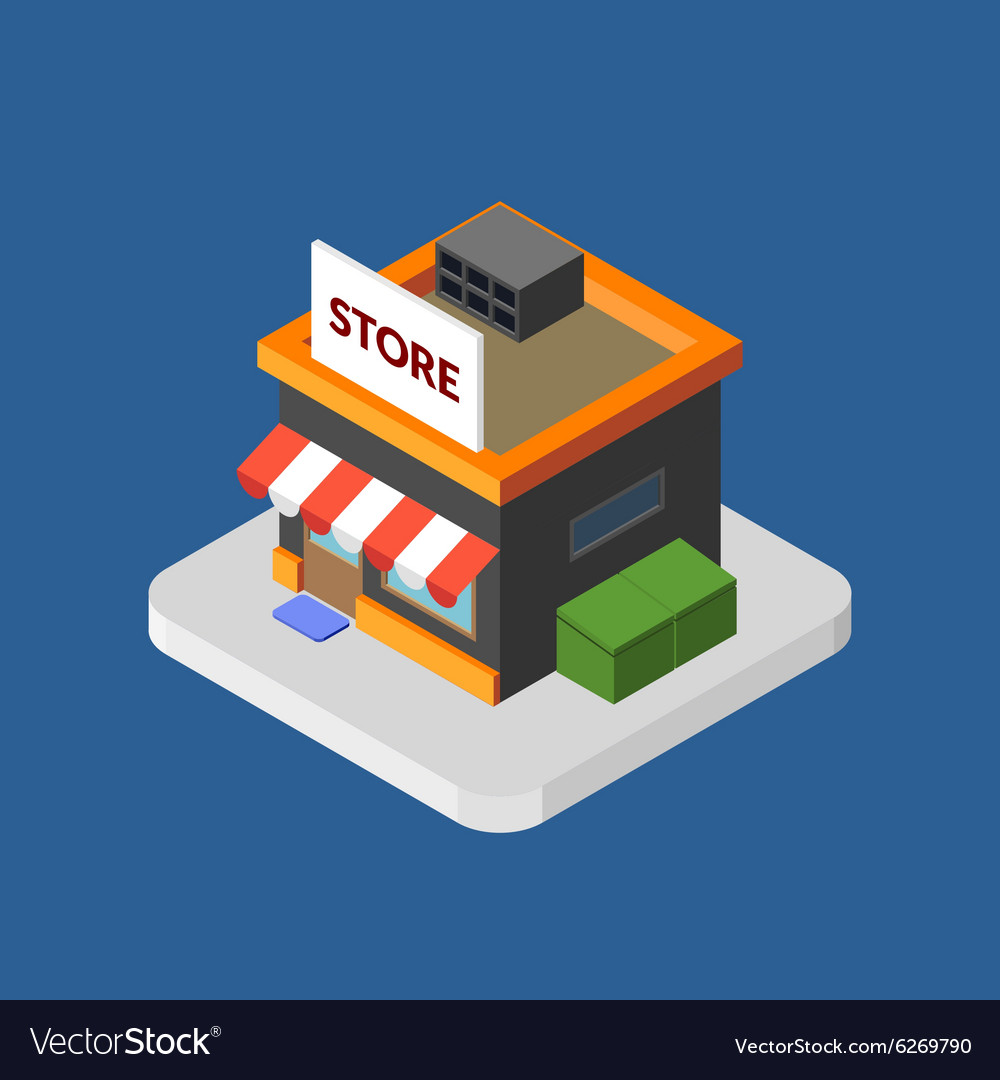 Flat isometric store logo isolated icon vector