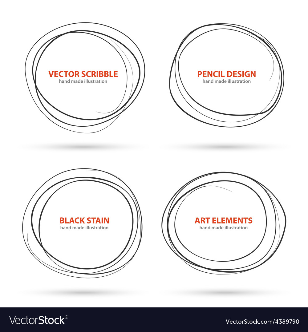 Hand drawn scribble circles template vector