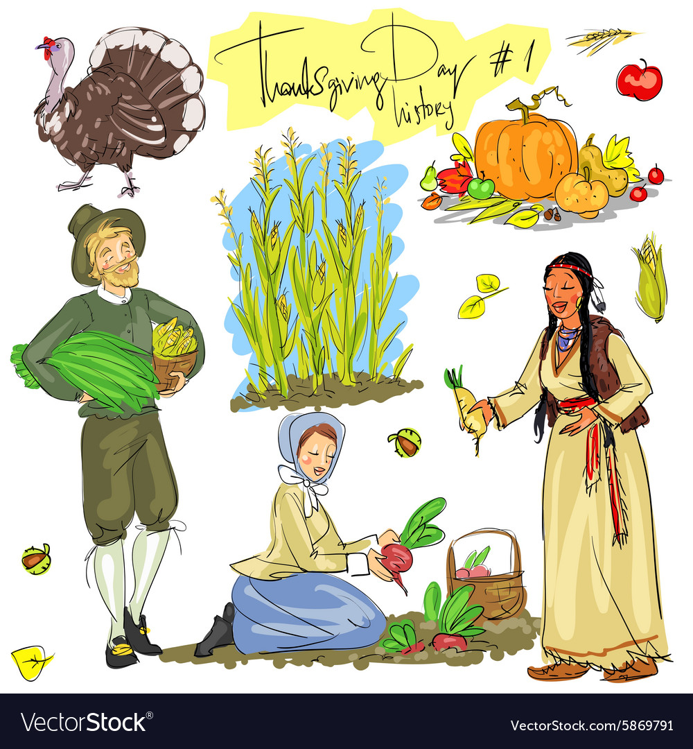 Thanksgiving day hand drawn collection set 1 vector