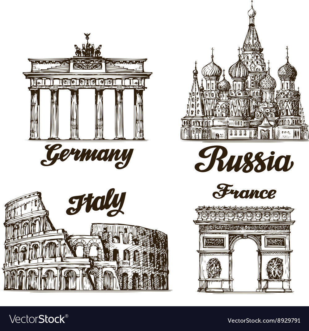 Travel hand drawn sketch berlin moscow rome vector