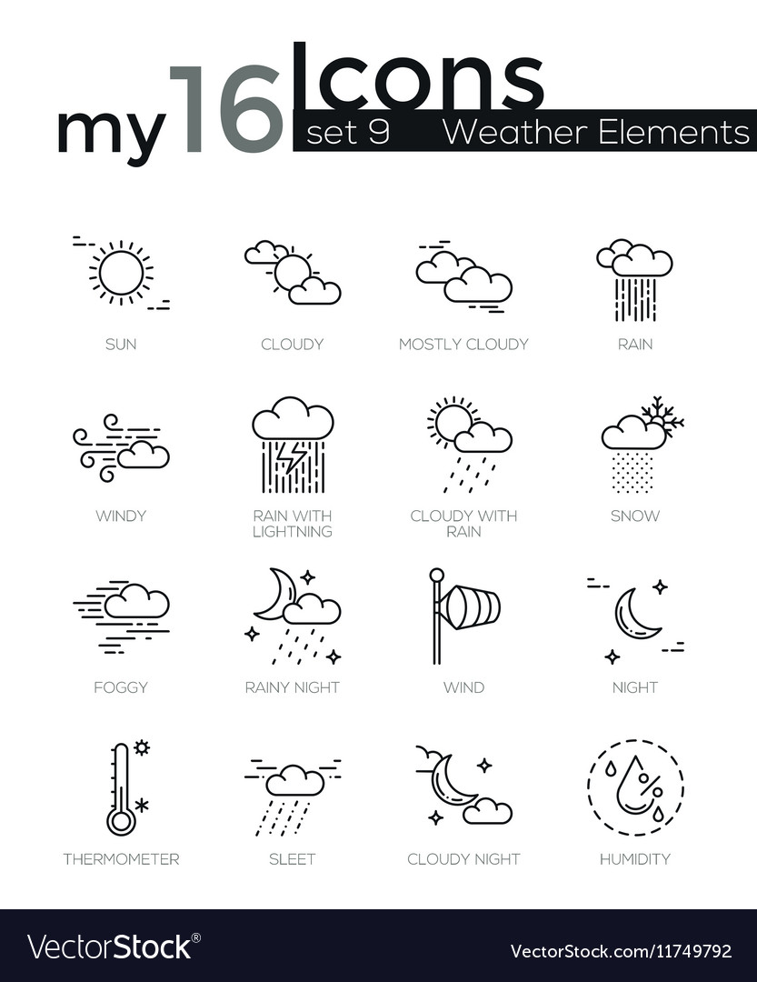 Modern thin line icons set of weather elements vector
