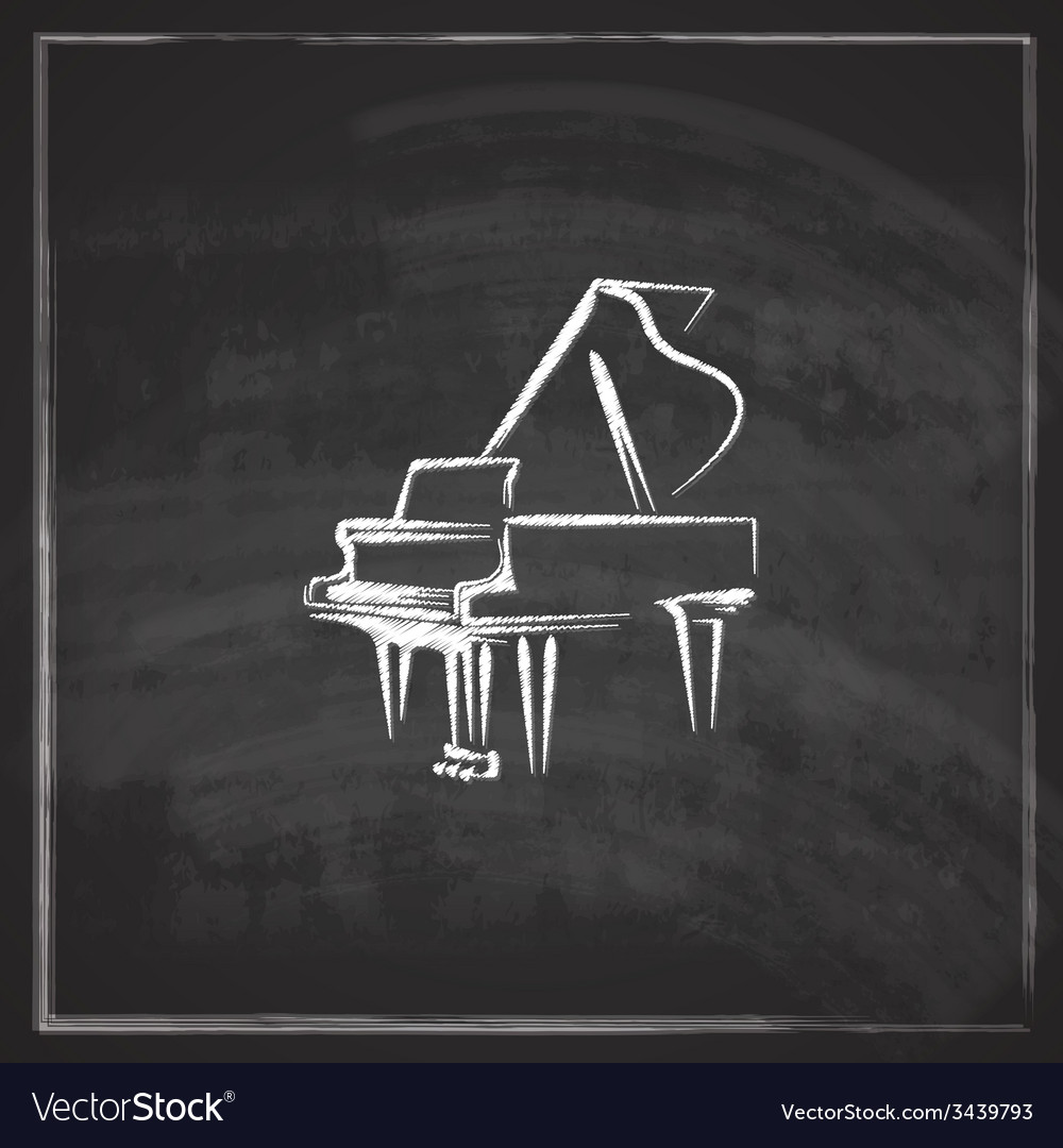 Vintage with the grand piano on blackboard vector