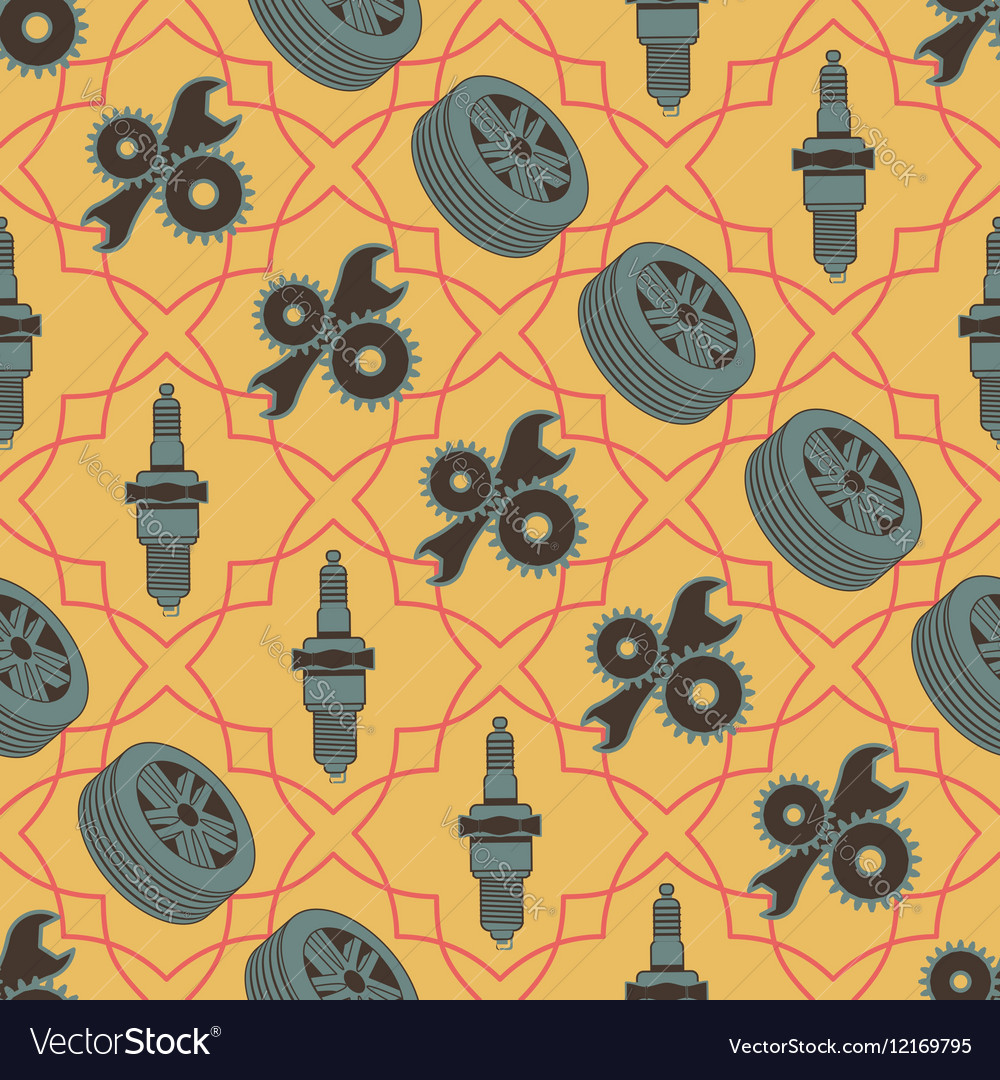 Car seamless pattern of motor vehicle parts spark vector