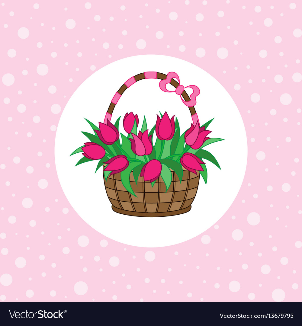 Gift basket with tulips vector