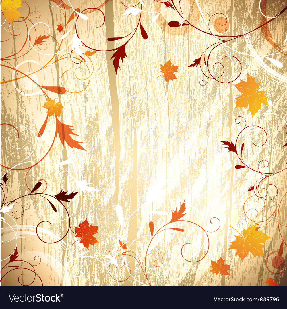 Autumn wooden background vector