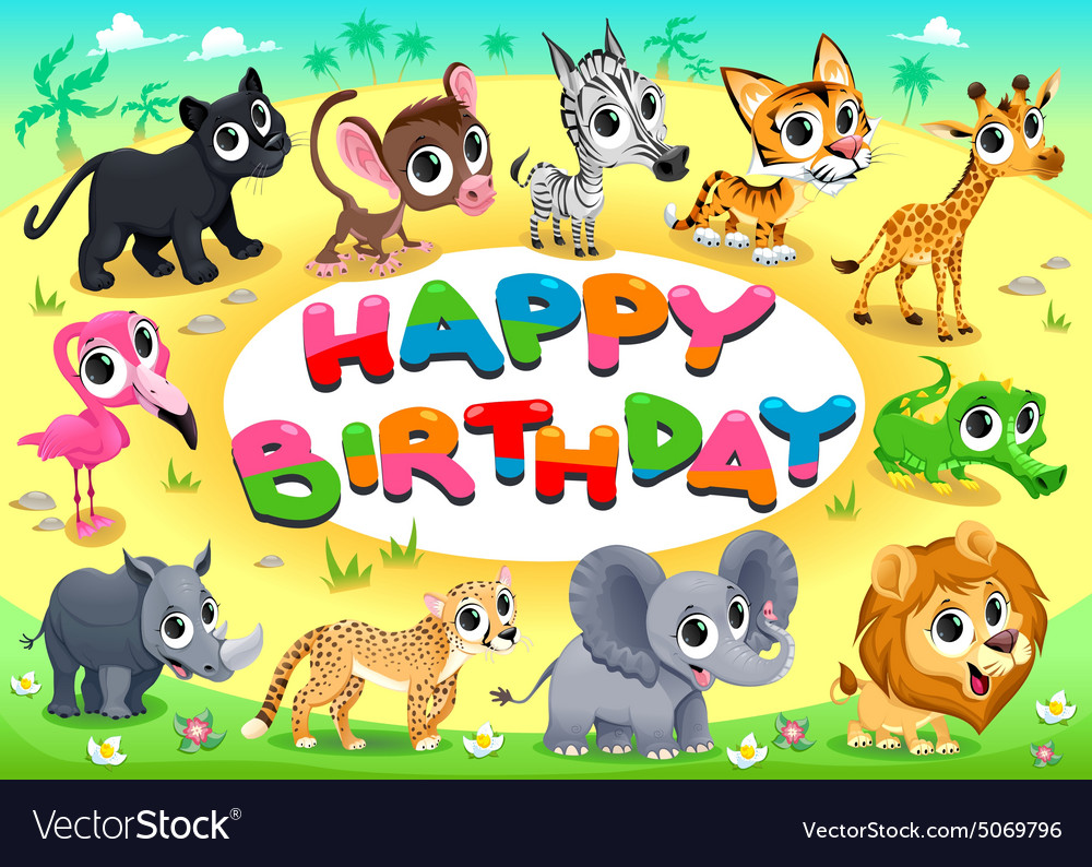 Happy birthday card with jungle animals vector