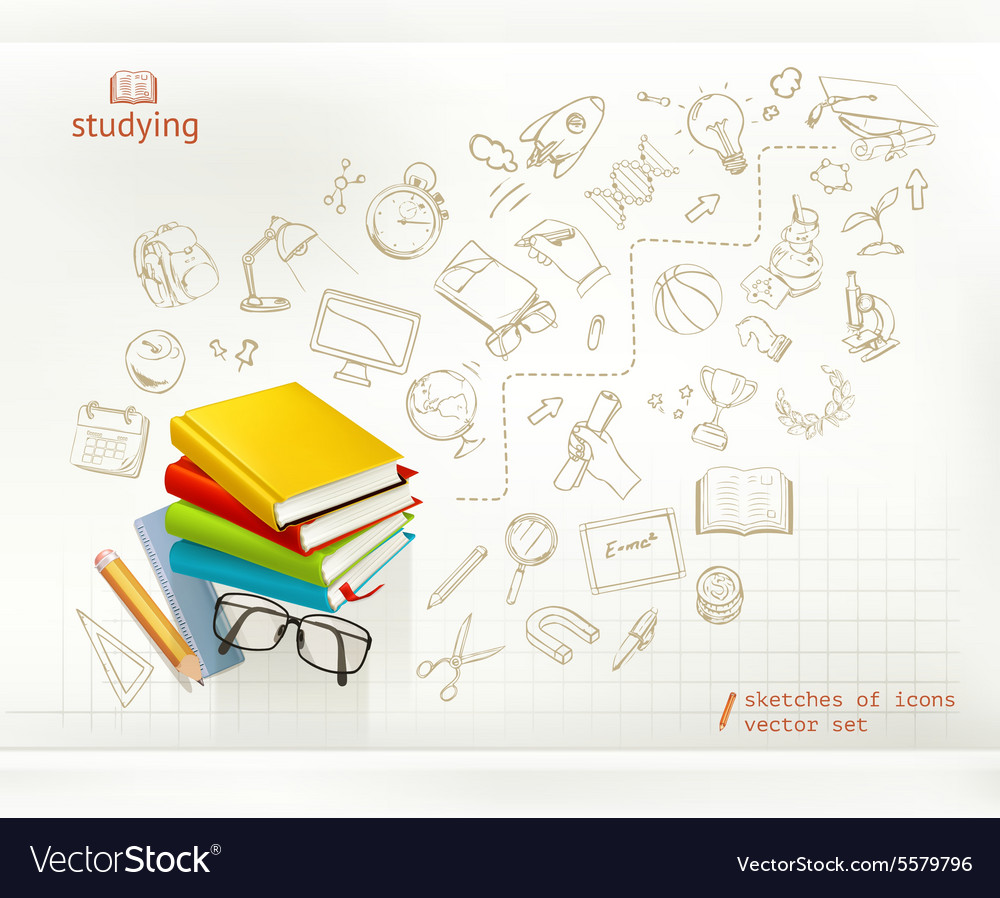 Studying and education infographics vector