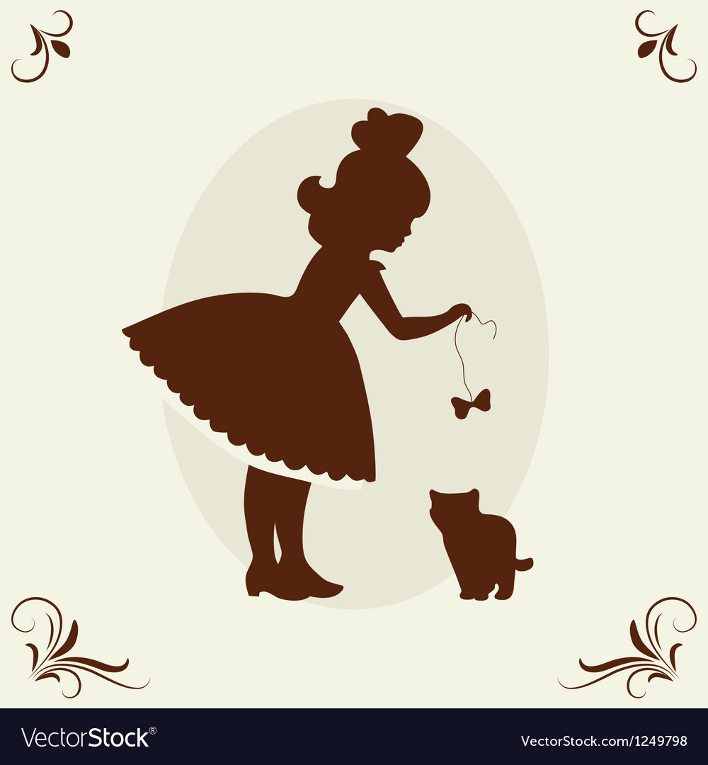 Girl and kitten vector