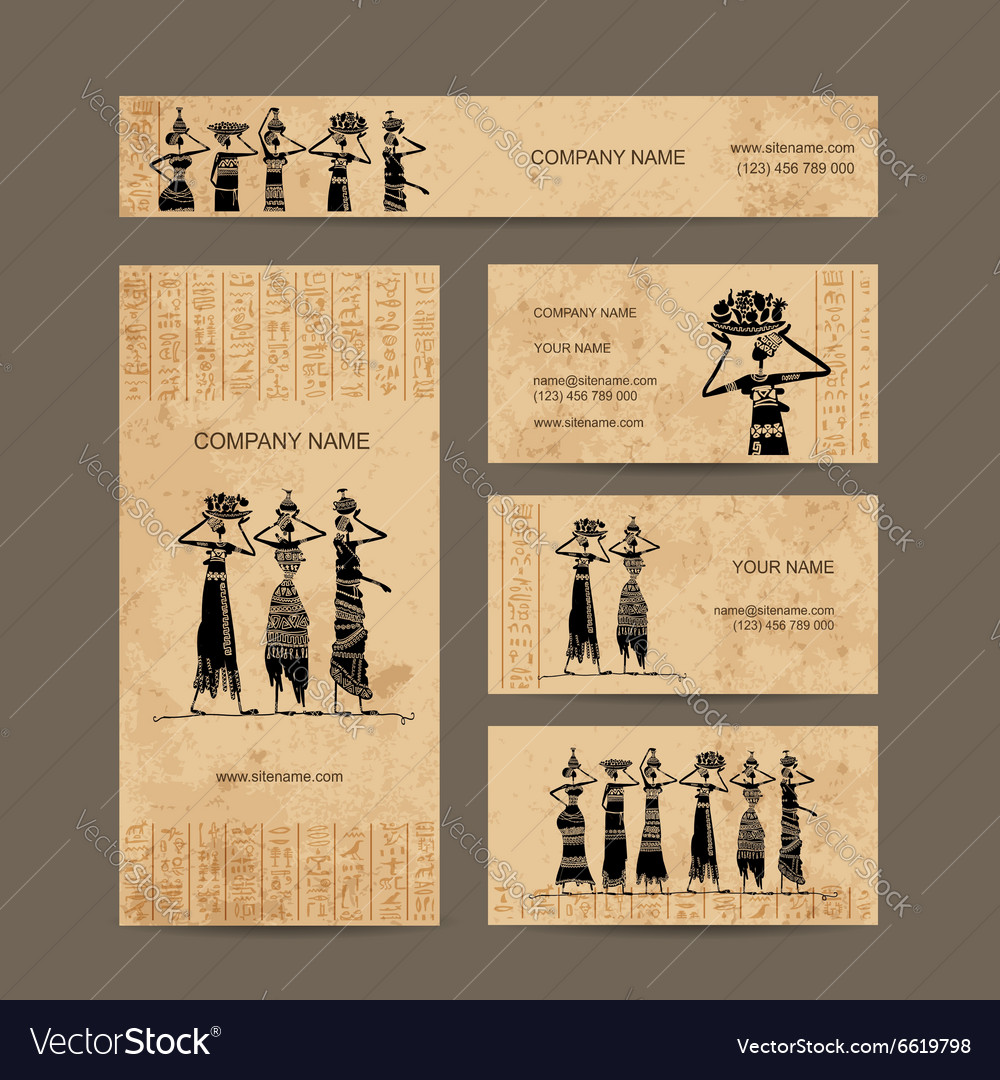 Sketch of egypt women with jugs business cards vector