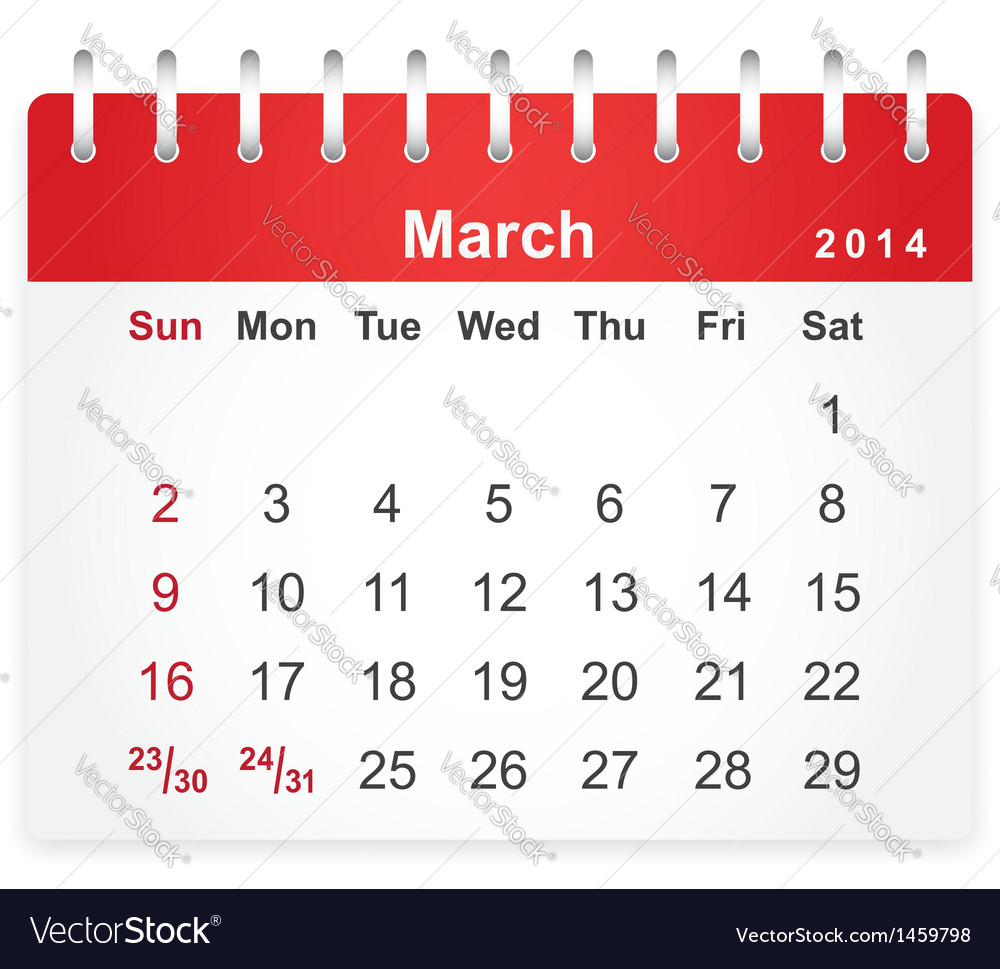 Stylish calendar page for march 2014 vector