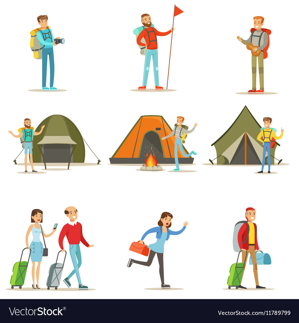 Happy people traveling and having camping trips vector