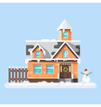 flat style of winter house with snowman vector image