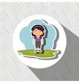 cartoon girl meadow green vector image
