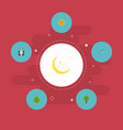 flat icons night playful fish sunshine and other vector image