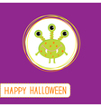 Cute cartoon green monster Violet background vector image