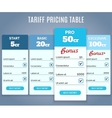 Tariff Pricing Table with Labels vector image vector image