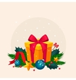 Christmas Decoration with Fir and Gift vector image