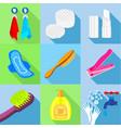 bathroom stuffs icons set flat style vector image