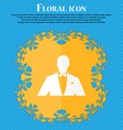 Silhouette of man in business suit icon Floral vector image