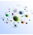 Three dimensional glowing color spheres on blue vector image