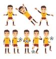 Footballer soccer player goalkeeper in different vector image