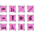 makeup icons on square buttons vector image vector image