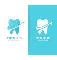 Tooth and airplane logo combination vector image